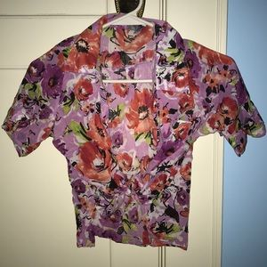 Delia's floral patterned front tie crop top